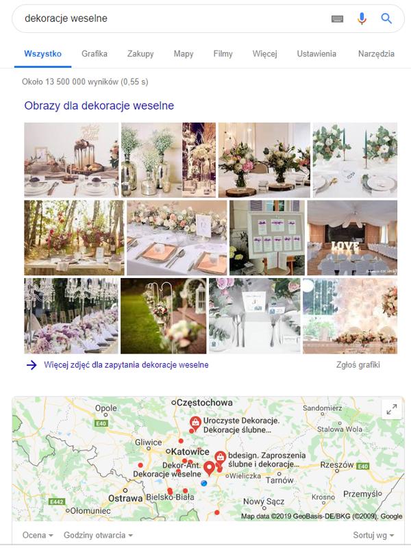 """Prezentacja wyników wyszukiwania frazy """"dekoracje weselne"""" w wyszukiwarce Google."""