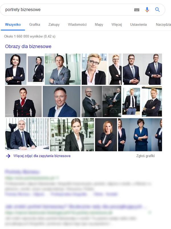 """Prezentacja wyników wyszukiwania frazy """"portret biznesowy"""" w wyszukiwarce Google."""