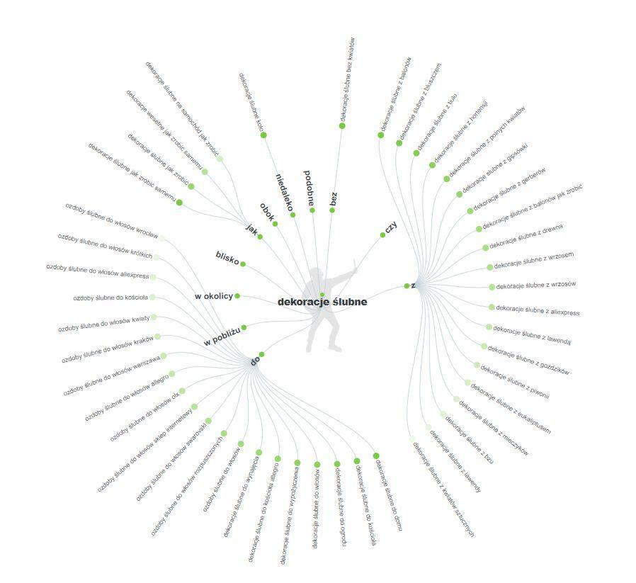 Graf z wynikami  zapytań internautów z answerthepublic.com